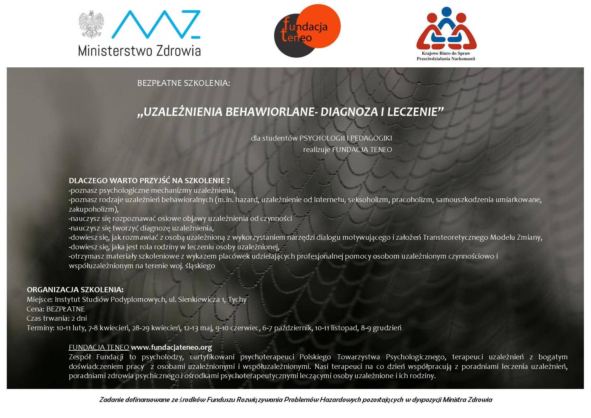 Plakat szkolenie Uzależnienia behawioralne - diagnoza i leczenie