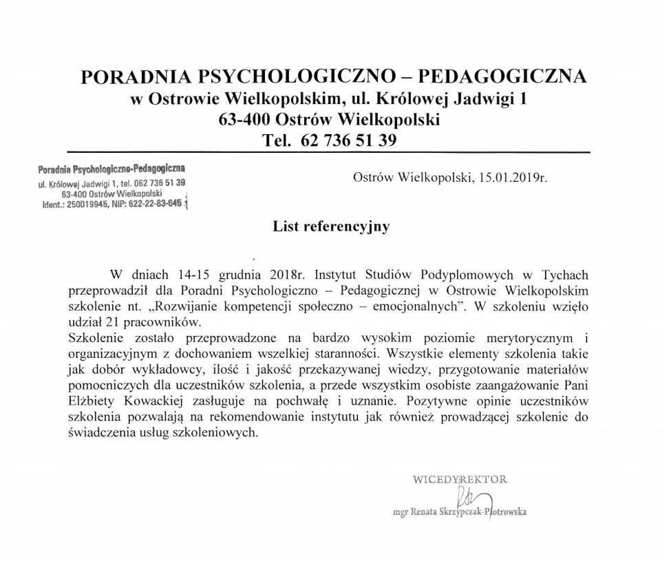 List referencyjny od Poradni Psychologiczno-Pedagogicznej w Ostrowie Wielkopolskim
